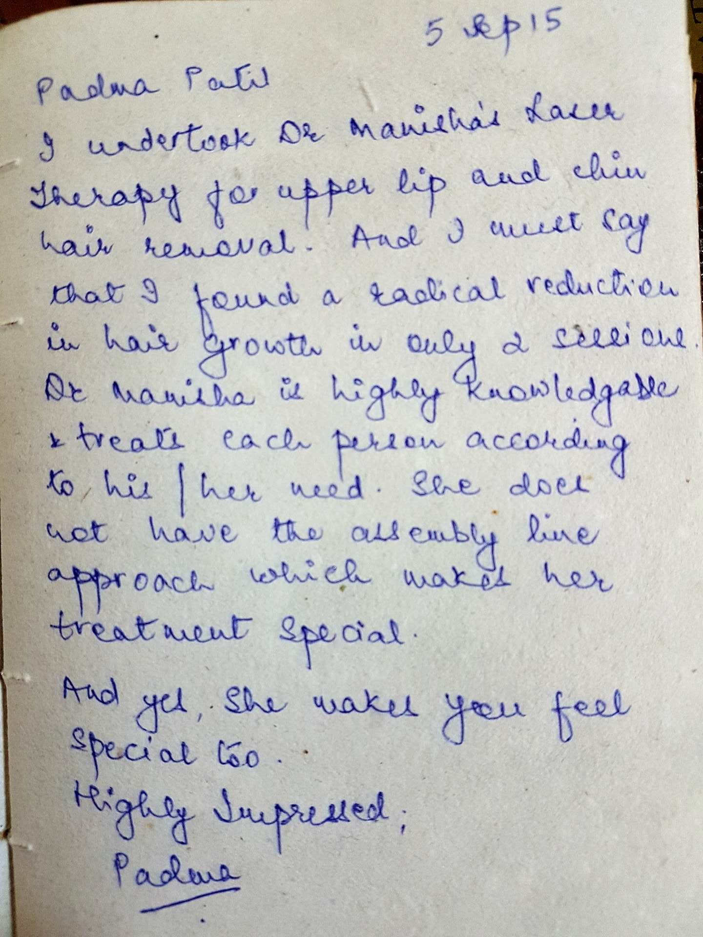 Feedback Permanent laser hair removal